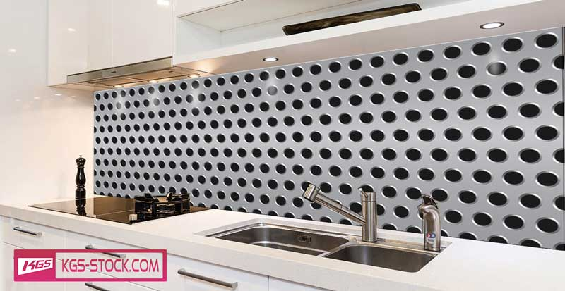 Splashbacks Glass design - Metallic texture with holes - 100887