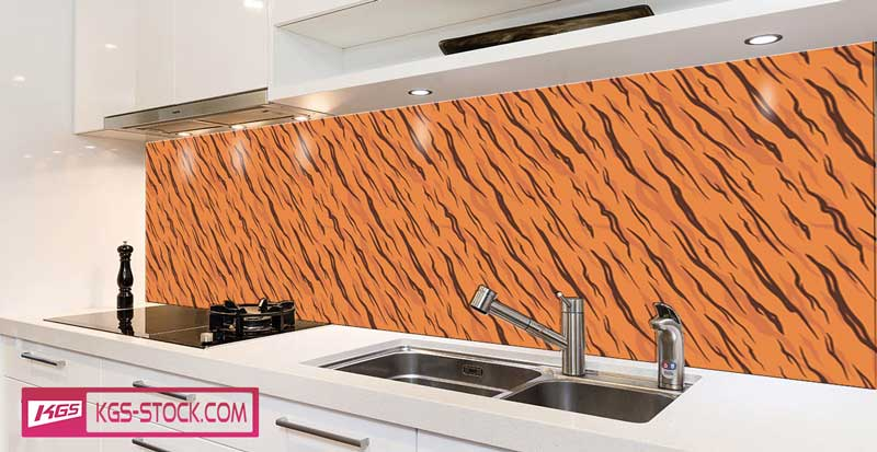 Splashbacks Glass design - Orange tiger skin - 100888