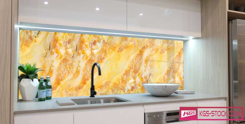 Splashbacks Glass design - Yellow onyx marble - 100892