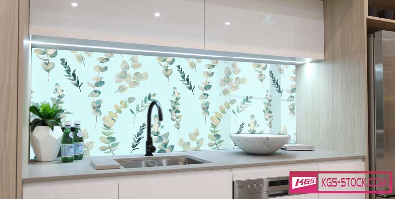 Splashbacks Glass design - Hand drawn leaves - 100893