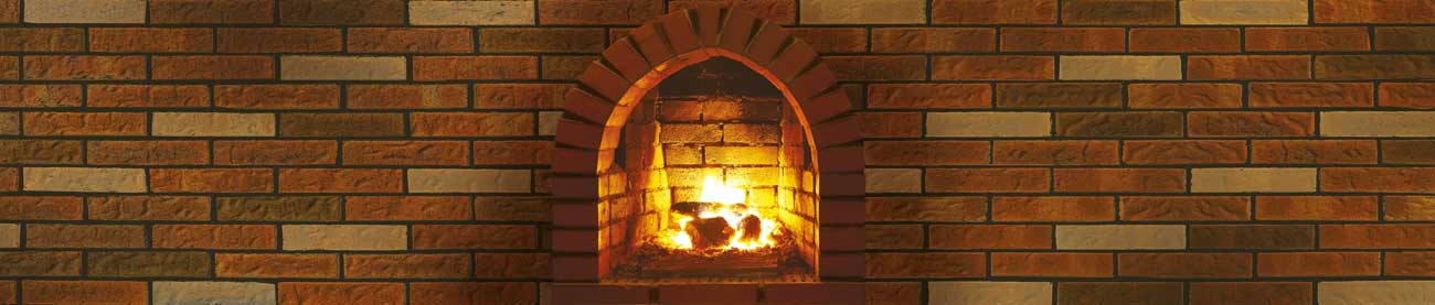 Splashbacks Glass design - Red brick wall and fire in oven - 100894 Image