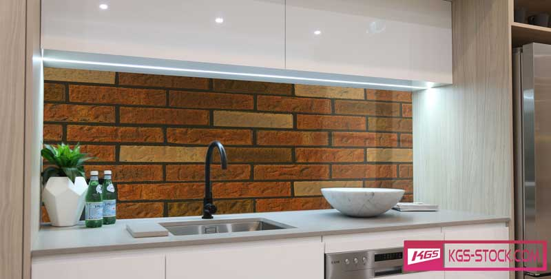 Splashbacks Glass design - Red brick wall texture for kitchen - 100895