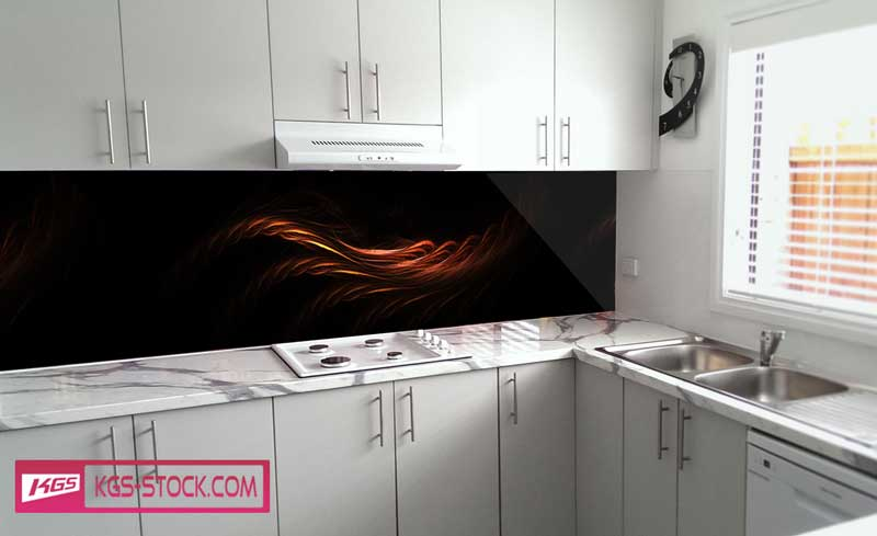 Splashbacks Glass design - Burning lines in the dark - 100355