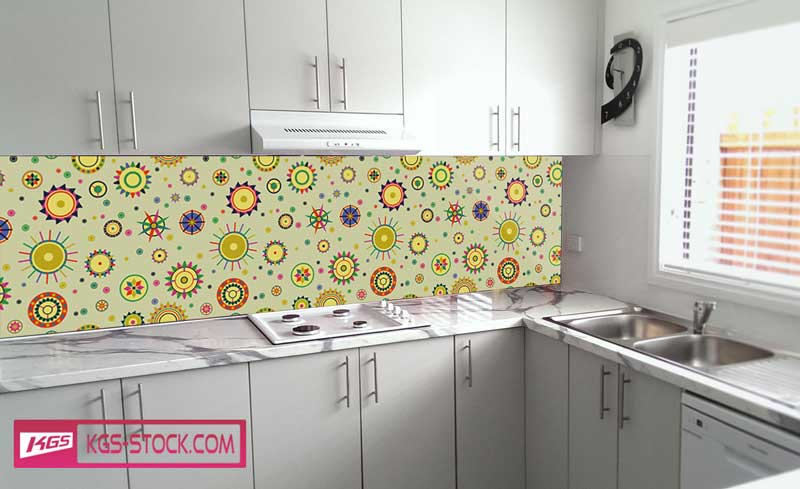 Splashbacks Glass design - Colorful circles and shapes - 100364