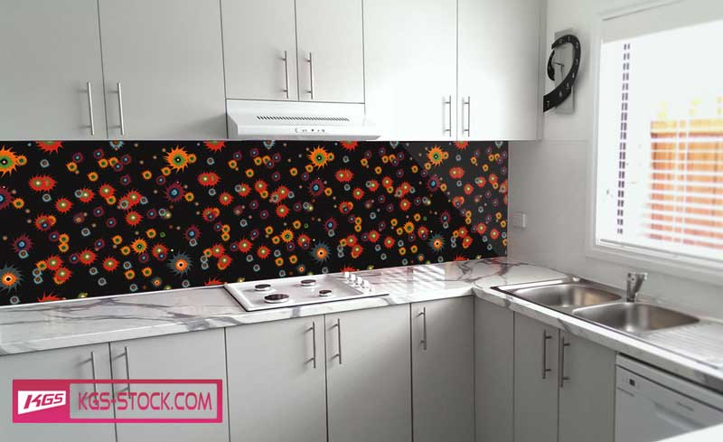 Splashbacks Glass design - Colorful shapes in the dark - 100365