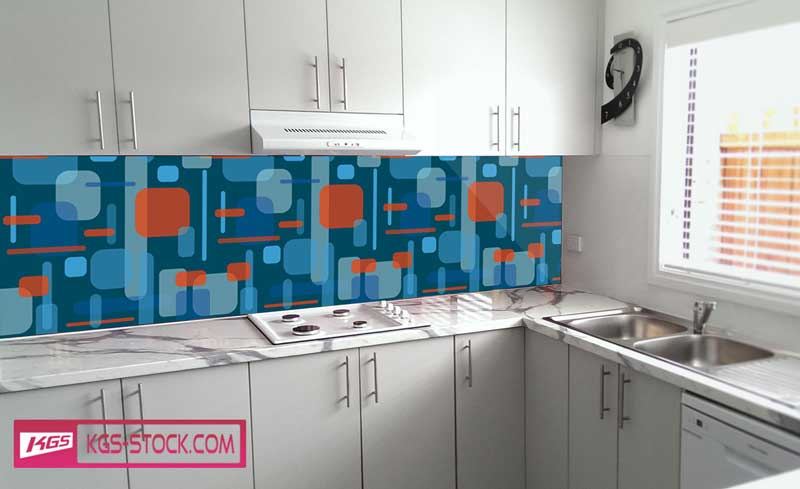 Splashbacks Glass design - Blue shapes - 100366