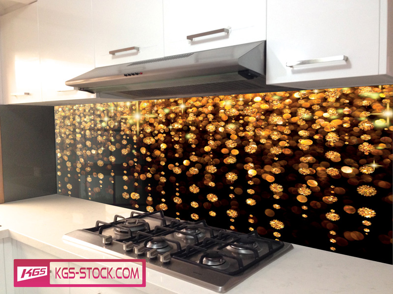 Splashbacks Glass design - Golden Star Fall - 100301