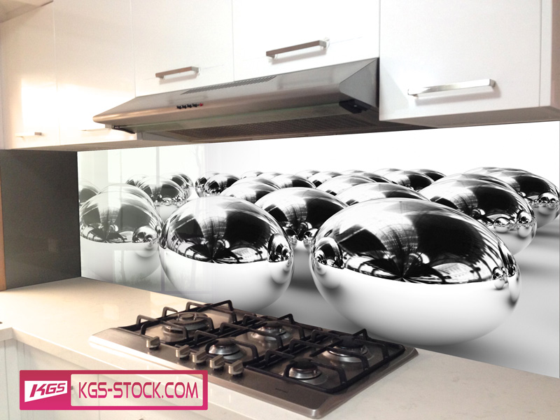 Splashbacks Glass design - Silver balls - 100304