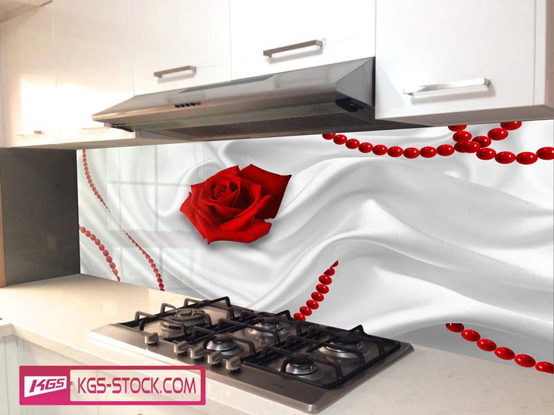 Splashbacks Glass design - Red roses on velvet - 100305