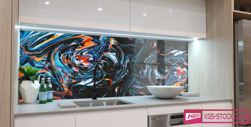Splashbacks Glass design - Colorful abstract design - 100309