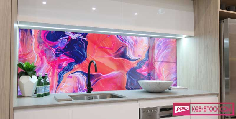 Splashbacks Glass design - Red abstract design - 100310
