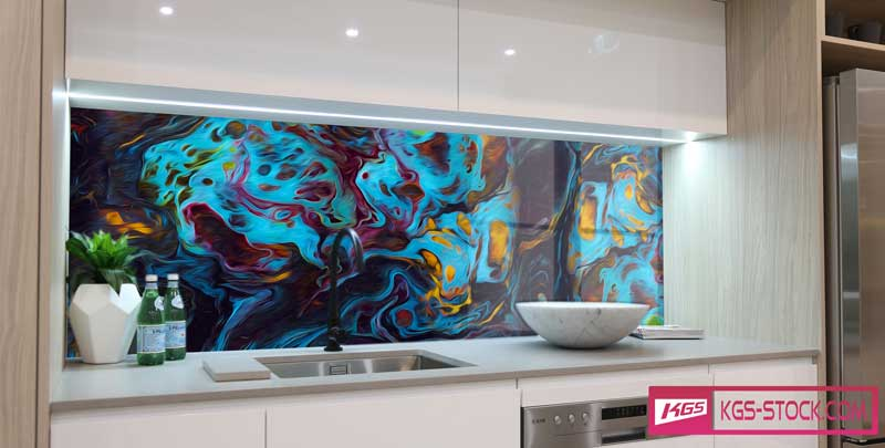 Splashbacks Glass design - Dark abstract design - 1003111