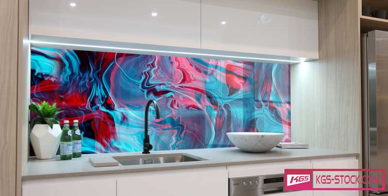 Splashbacks Glass design - Bright abstract design - 1003112