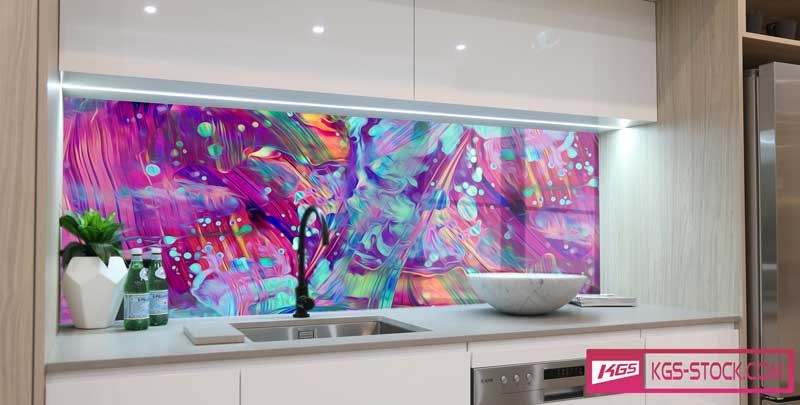 Splashbacks Glass design - Crazy Colorful abstract design - 1003114