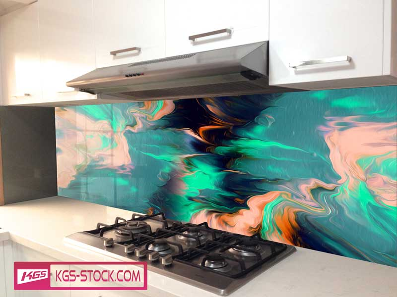 Splashbacks Glass design - Pink and gree abstract design - 1003117