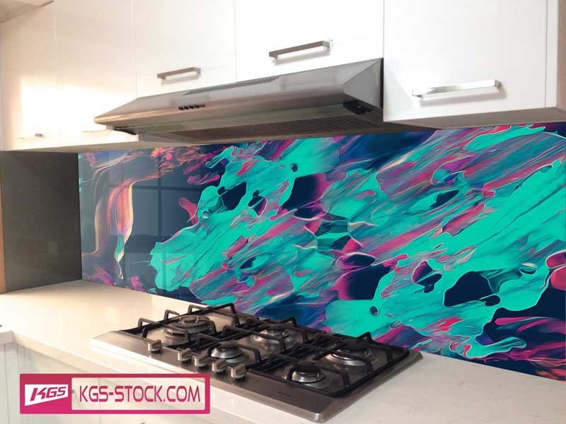 Splashbacks Glass design - Light blue fire abstract design - 100327