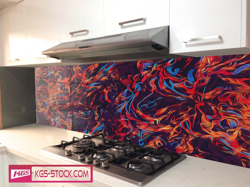 Splashbacks Glass design -  Red fire abstract design - 100328