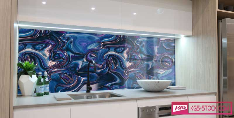 Splashbacks Glass design -  Glass blue abstract design - 100331