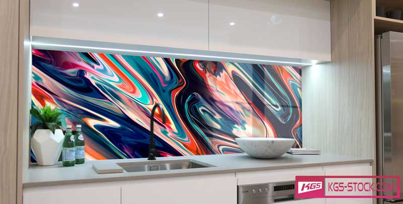 Splashbacks Glass design -  Colorful glass Abstract design - 100335