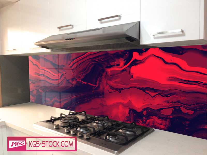 Splashbacks Glass design -  Blood red Abstract design - 100337