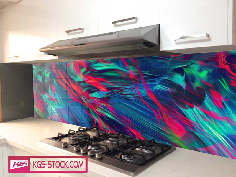 Splashbacks Glass design - Bright red Abstract design - 100339