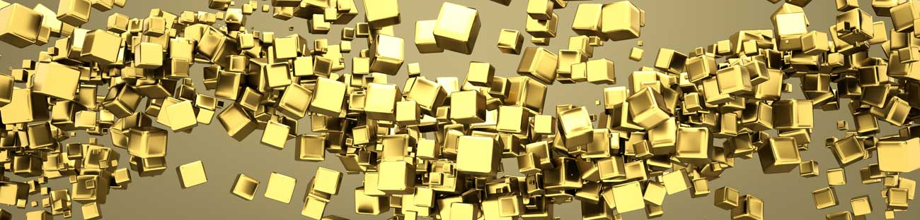 Splashbacks Glass design - Abstract golden cubes - 100345