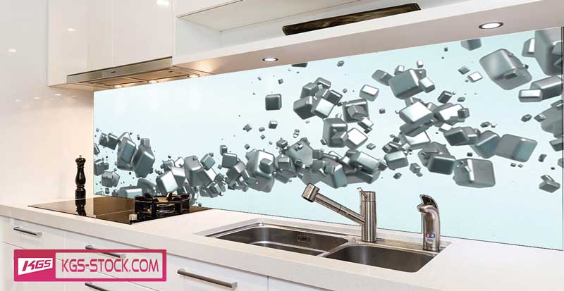 Splashbacks Glass design - Abstract silver cubes - 100347
