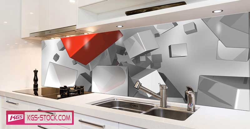 Splashbacks Glass design - Abstract silver and red cubes - 100344