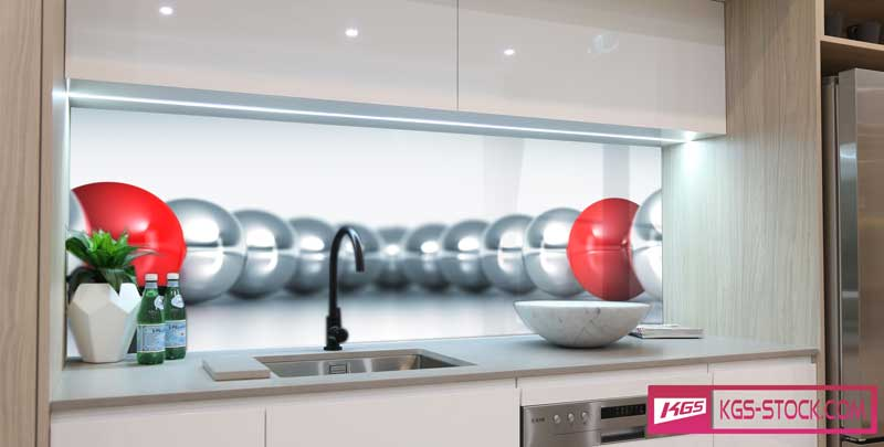 Splashbacks Glass design - Silver and red circles - 100346