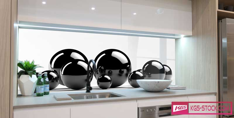 Splashbacks Glass design - Black shining circles - 100347