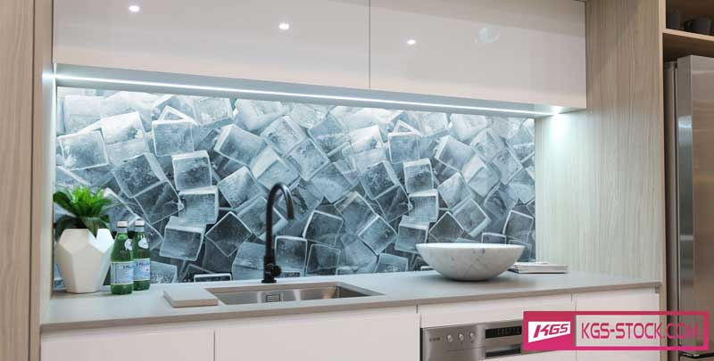 Splashbacks Glass design - İce cubes - 100349