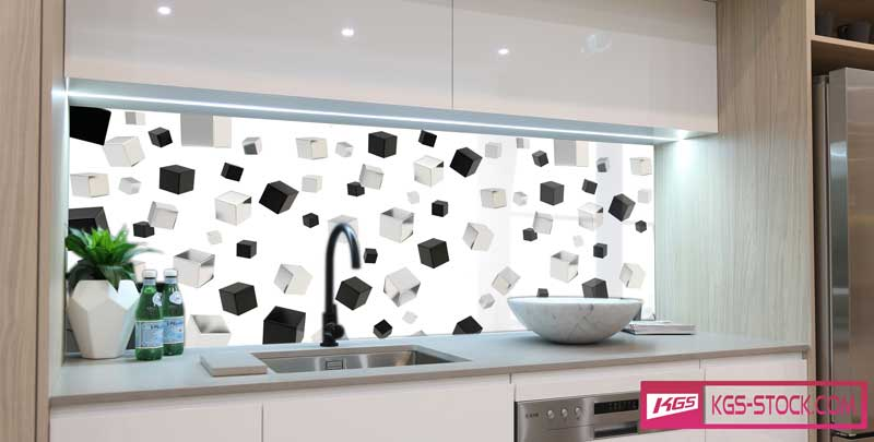 Splashbacks Glass design - Flying black and white cibes - 100350