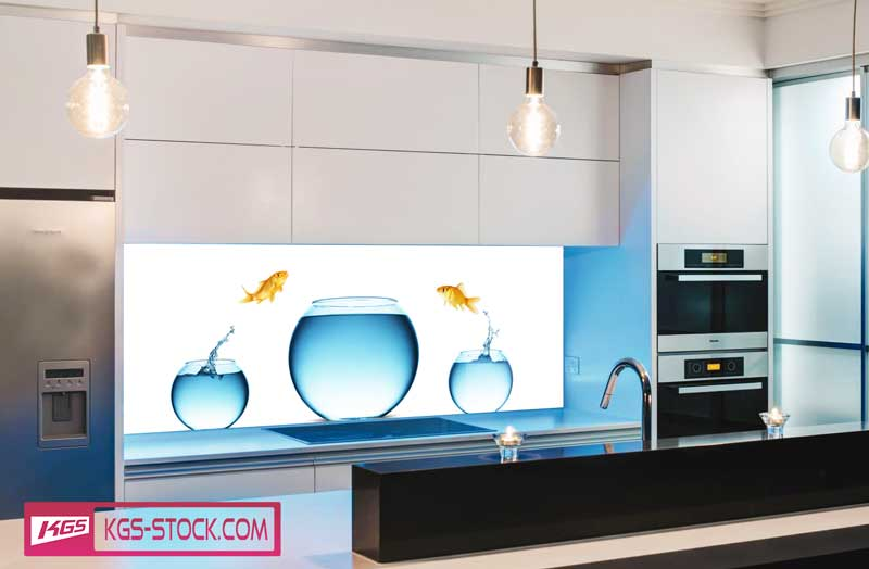 Splashbacks Glass design - Fishes jumping out of water - 100664