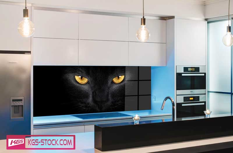 Splashbacks Glass design - Black eyes in darkness - 100672