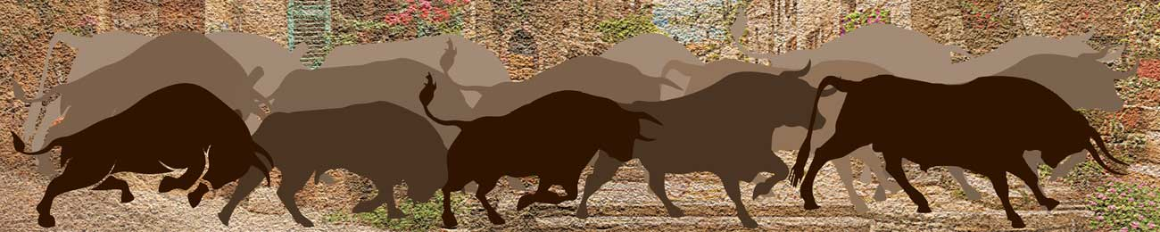 Splashbacks Glass design - Running Ox in city - 100605
