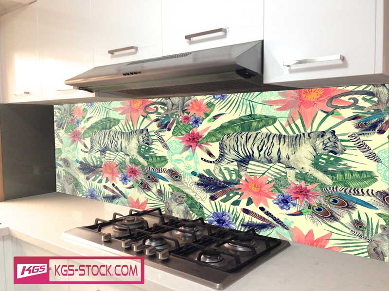 Splashbacks Glass design - White tiger and monkey in the Jungle - 100615