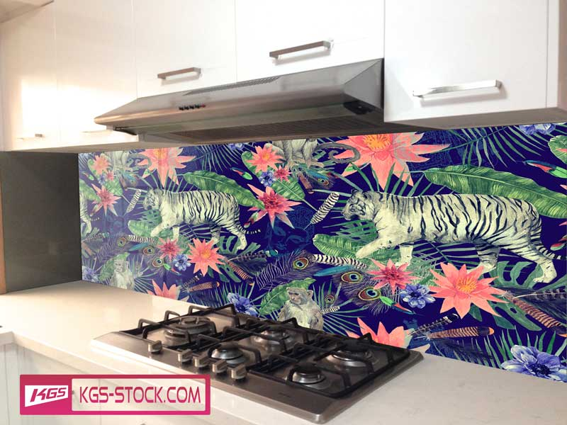 Splashbacks Glass design - White tiger and monkey in dark Jungle - 100616