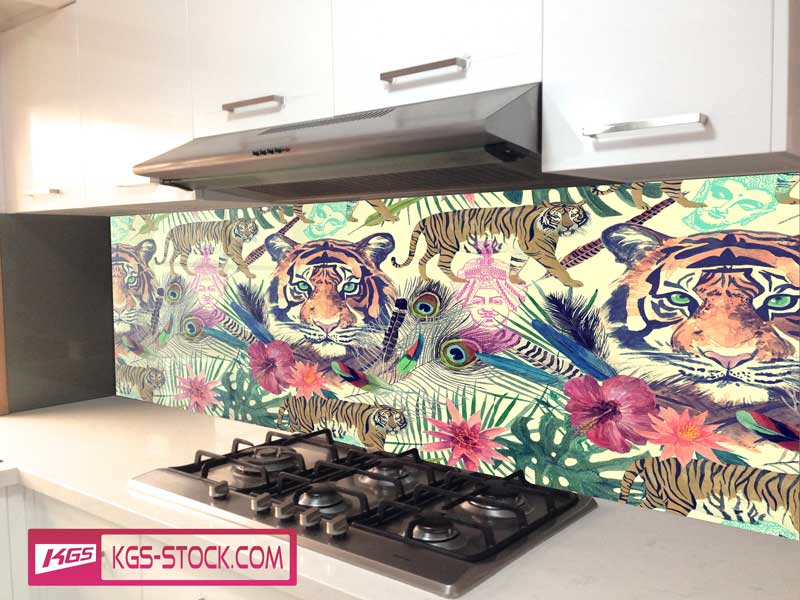 Splashbacks Glass design - Tiger head paint - 100617