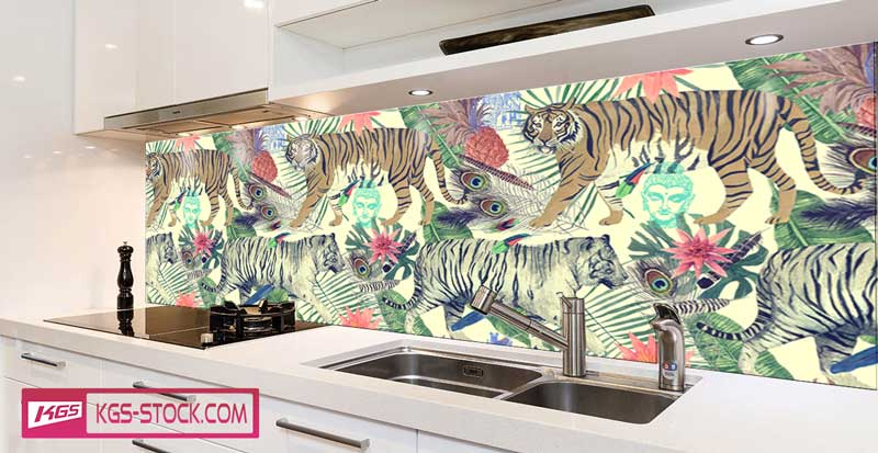 Splashbacks Glass design - Two Walking tigers paint - 100621