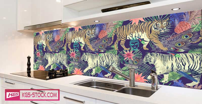 Splashbacks Glass design - Two Walking tigers paint in the dark - 100622