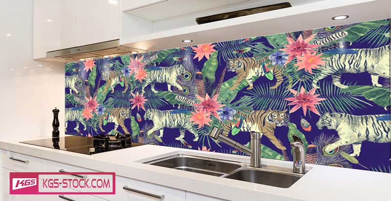 Splashbacks Glass design - Jungle in the night - 100624