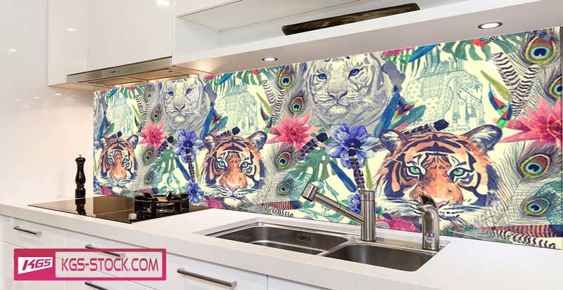 Splashbacks Glass design -  Hand drawn tiger heads - 100625