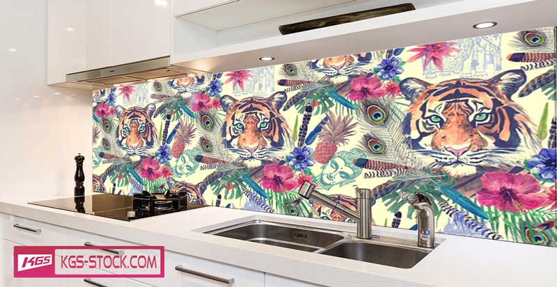 Splashbacks Glass design -  Flowers and tiger - 100626