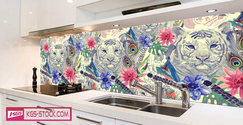 Splashbacks Glass design -  Flowers and white tiger - 100627