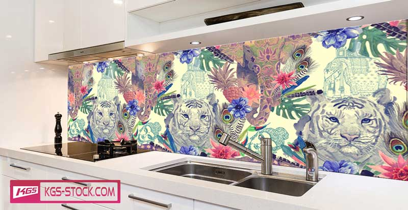 Splashbacks Glass design -  White tiger and elephant - 100628
