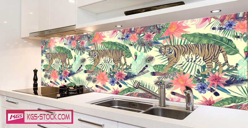 Splashbacks Glass design -  Indian Tiger walking paint - 100630