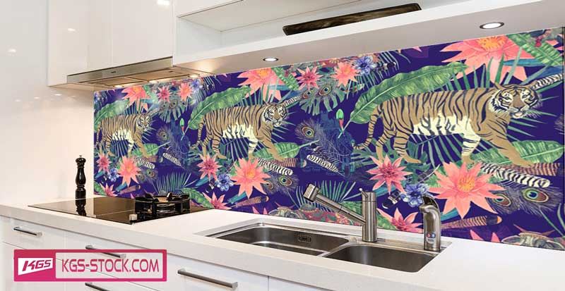 Splashbacks Glass design -  Indian Tiger walking in dark paint - 100631