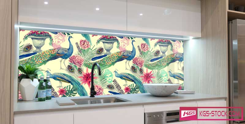 Splashbacks Glass design -  Beautiful bird painting - 100632