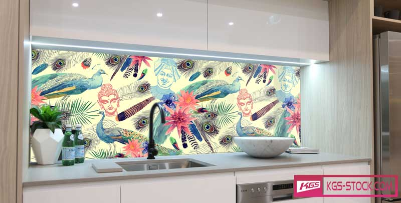 Splashbacks Glass design -  Beautiful bird hand drawn painting - 100633