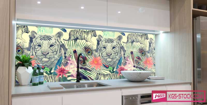 Splashbacks Glass design -  Indian white tiger head - 100634